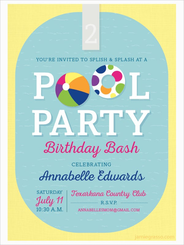 Pool Party Birthday Bash Invitation
