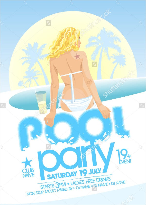 27 pool party invitations free psd vector ai eps for Pool design templates