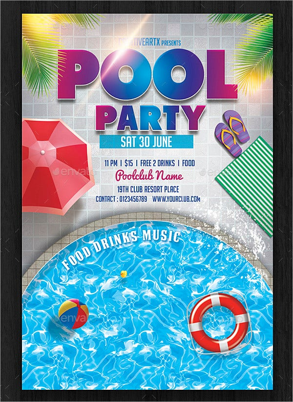 Pool Party Flyer Invitation Template