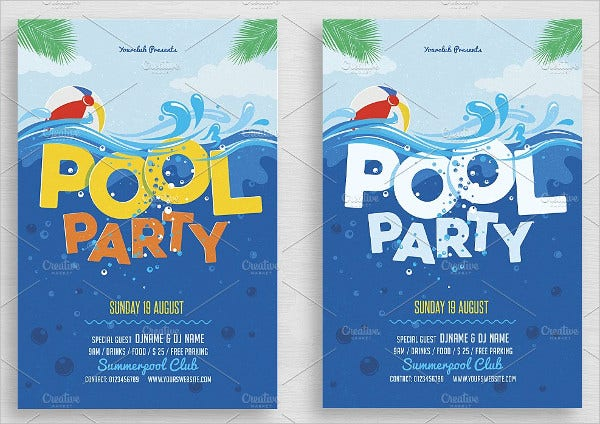 Pool Party Invitations Free PSD Vector AI EPS Format - Party invitation template: club party invitation template
