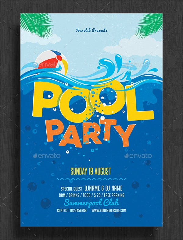 PSD Design Pool Party Invitation