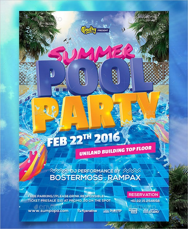 PSD Design Pool Party Invitation Template