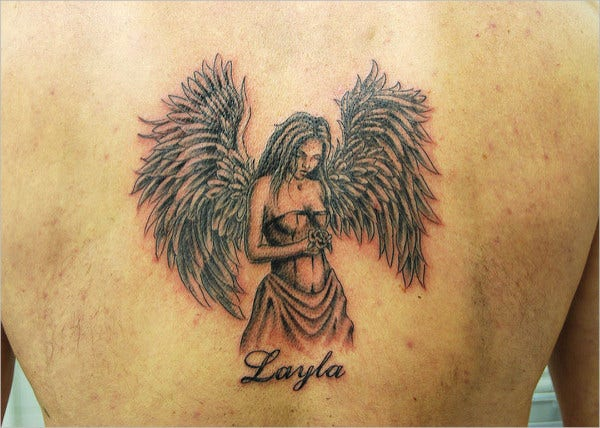 Beautiful Girl Angel Wing Tattoo