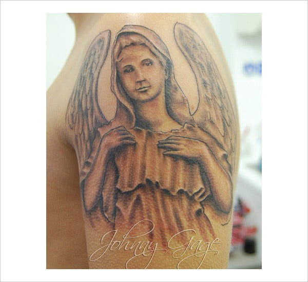 Black and Grey Angel Tattoo