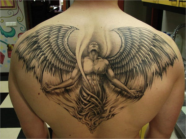 God Creation Angle Wings Tattoo