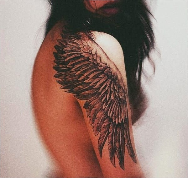 Hand Design Angel Wing Tattoo