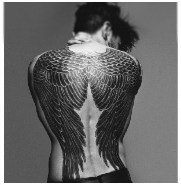 Mens Design Angel Wing Tattoo