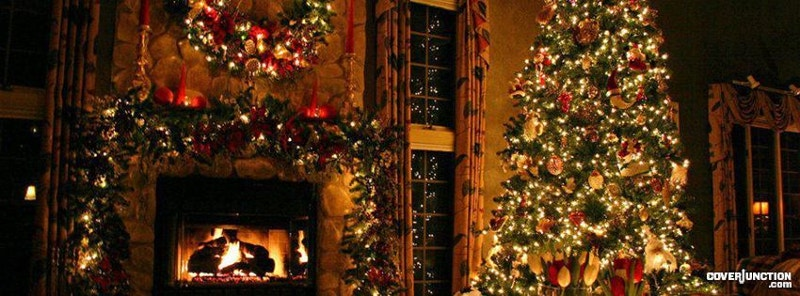 christmas tree and fireplace facebook cover