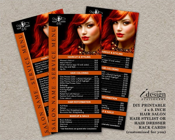 professional hair salon card