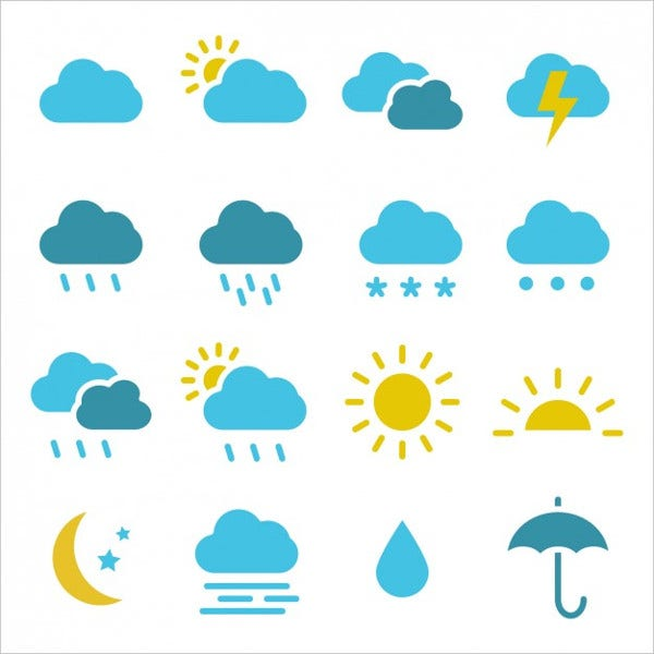 coloured weather icons