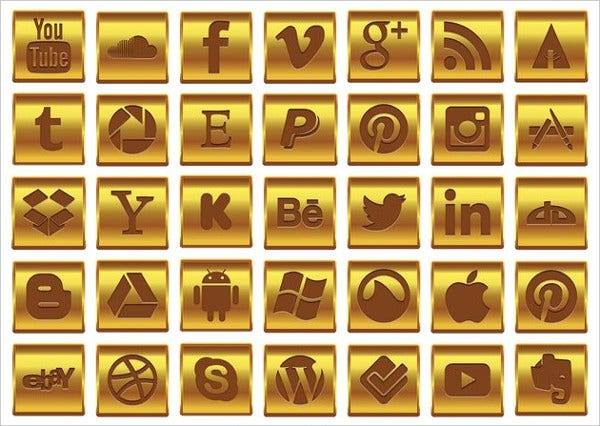 gold social media icon set