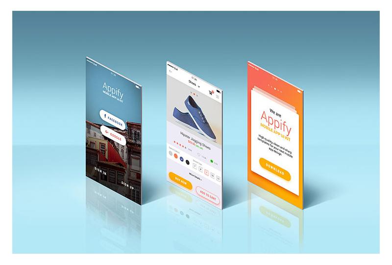 App Screens Standing Mockup
