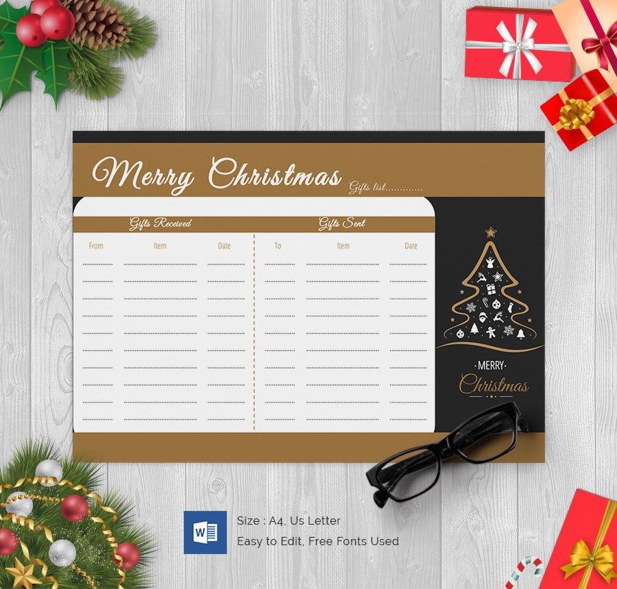 Christmas Tree Gift List Word Document