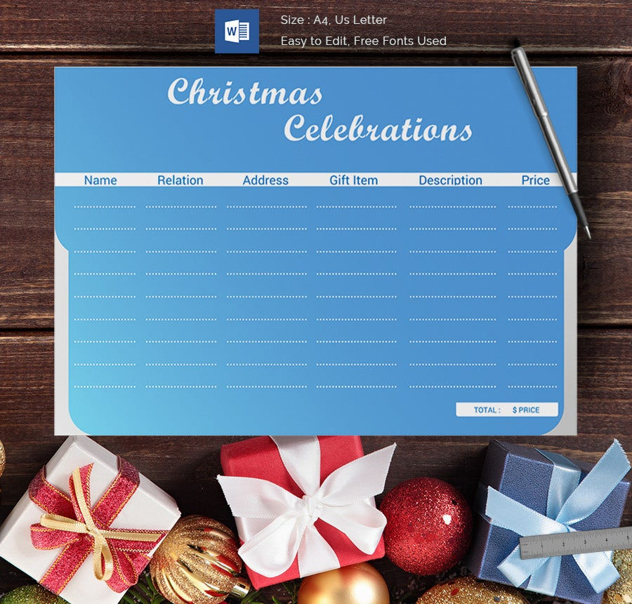 Christmas Celebrations Gift List