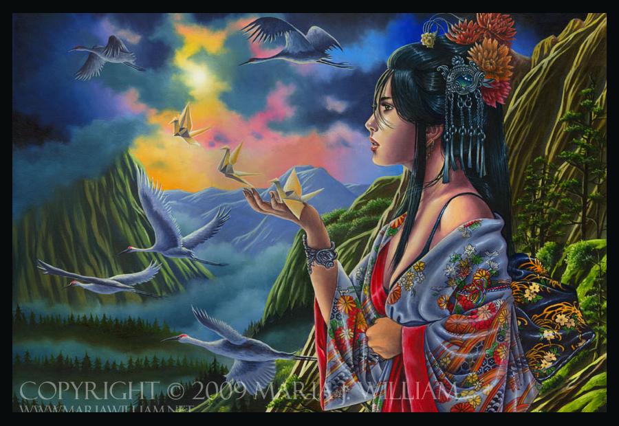 traditional art landscape illustration