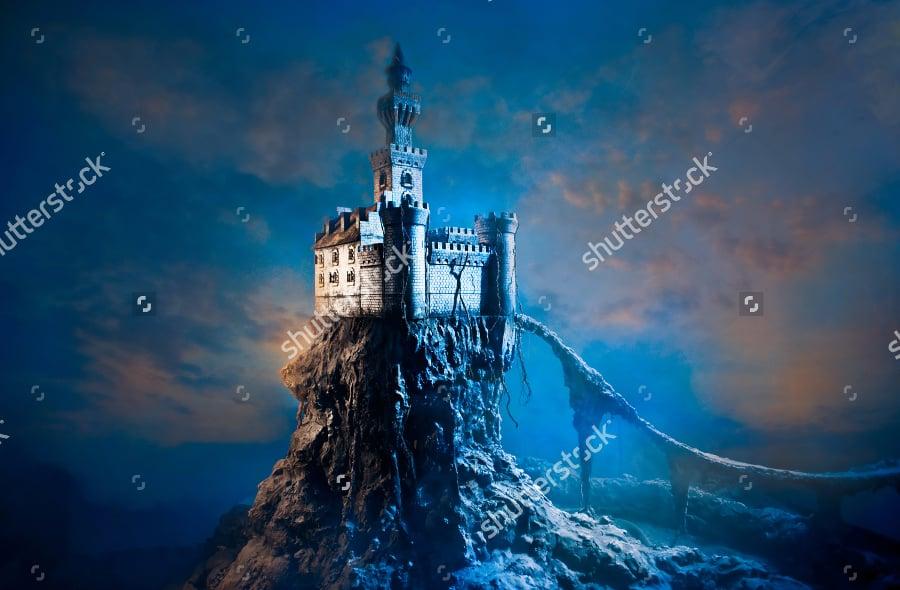 old castle fantasy landscape illustration