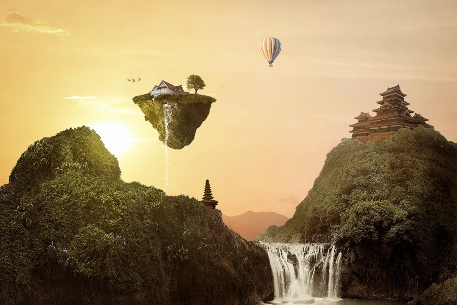 floating montains fantasy illustration