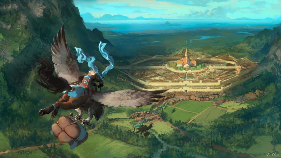 awesome fantasy landscape illustration