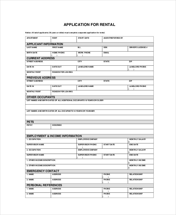 Apartment Application   Free Pdf Word Documents Download