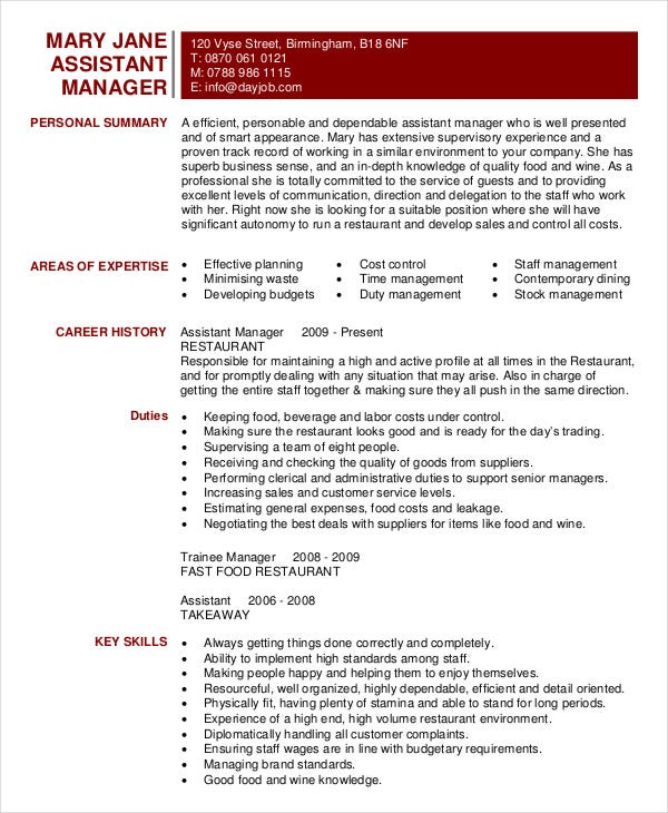 Restaurant Assistant Manager Resume Template