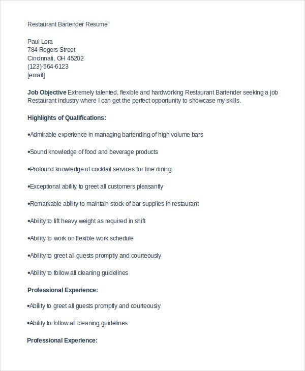 resume examples for restaurant jobs examples of bartending