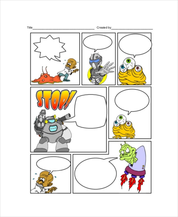 Comic Strip Template With Sch Bubbles