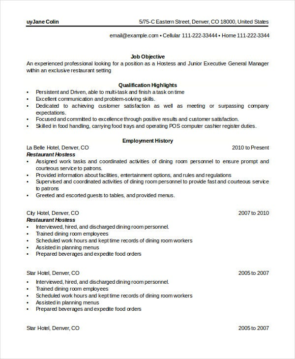 restaurant hostess resume