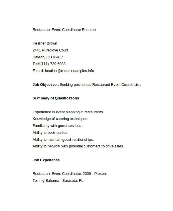 restaurant event coordinator resume