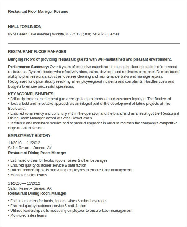 restaurant floor manager resume