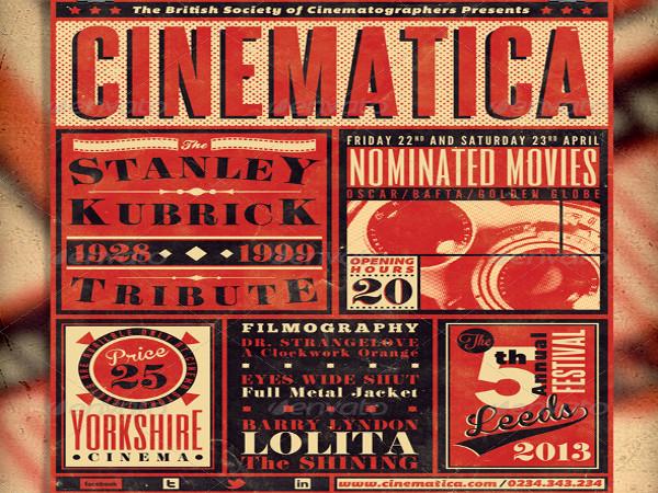 vintage film festival poster flyer
