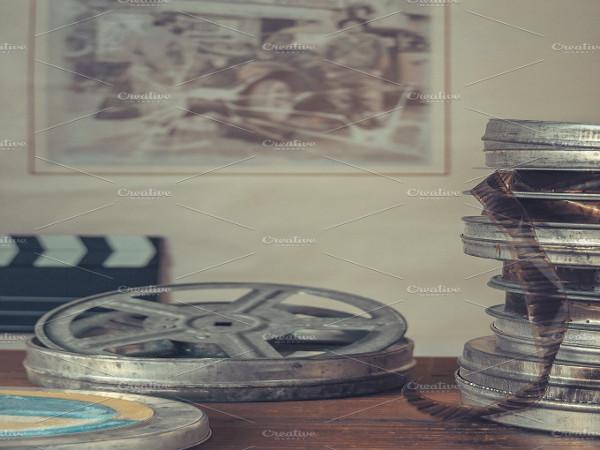 vintage movie reels poster