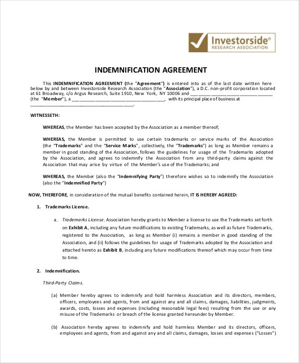 10 Indemnity Agreements Free Sample Example Format – Indemnity Template