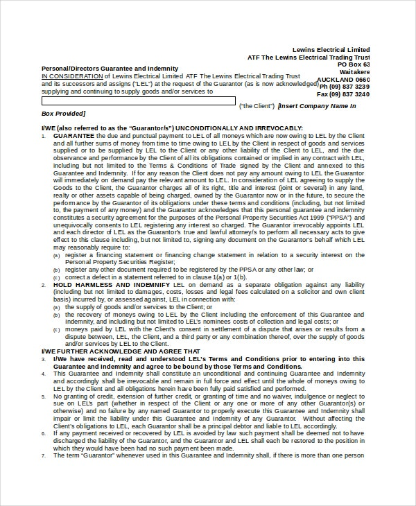Personal Indemnity Agreement Format  Indemnity Template
