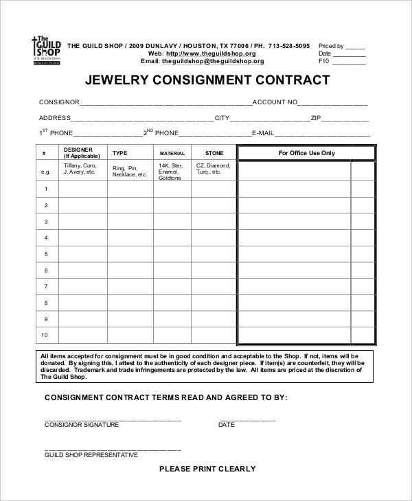 Jewelry Consignment Agreement Template  Free Consignment Agreement