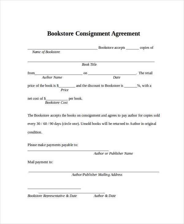 Bookstore Consignment Agreement