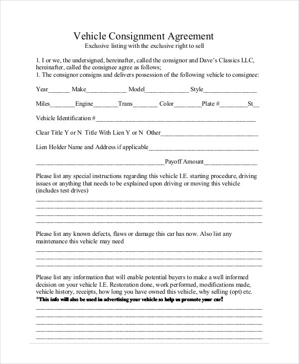 vehicle consignment agreement