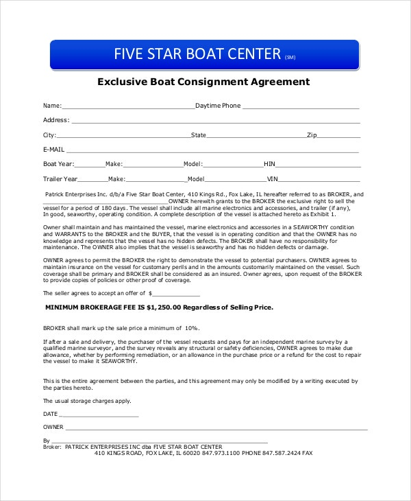 boat partnership agreement template - consignment agreement 10 free pdf word documents
