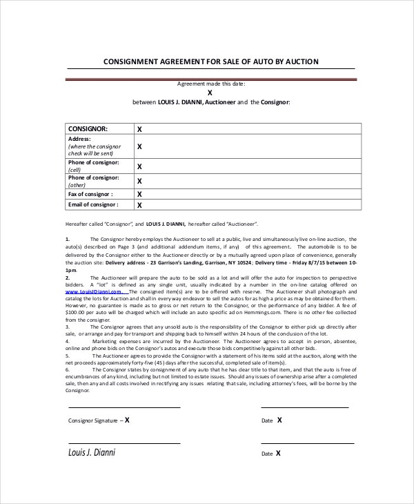 Sale of Auto Consignment Agreement
