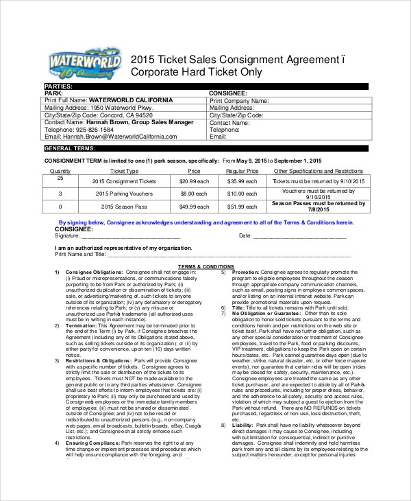 Consignment Agreement   Free Pdf Word Documents Download  Free