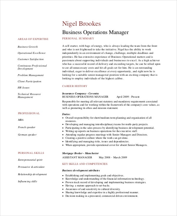 Business Operations Manager Resume Sample  Concise Resume Template