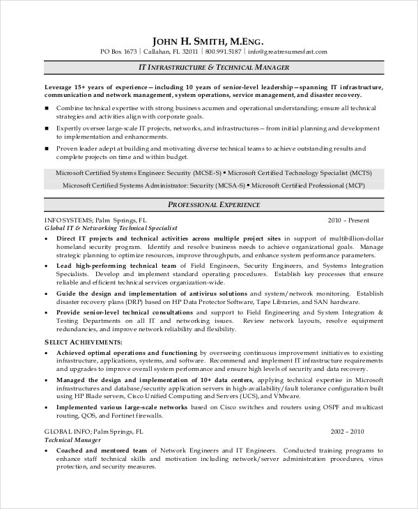 IT Operations Manager Resume Free Download  Operations Management Resume