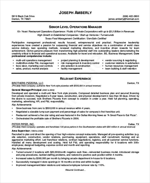 senior operations manager resume format - Operations Manager Sample Resume