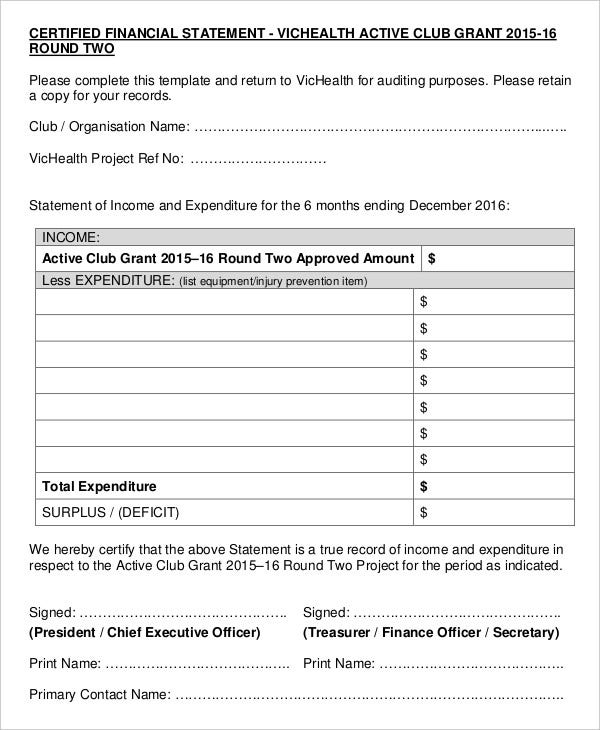 Certified Financial Statement Form  Blank Income Statement Form
