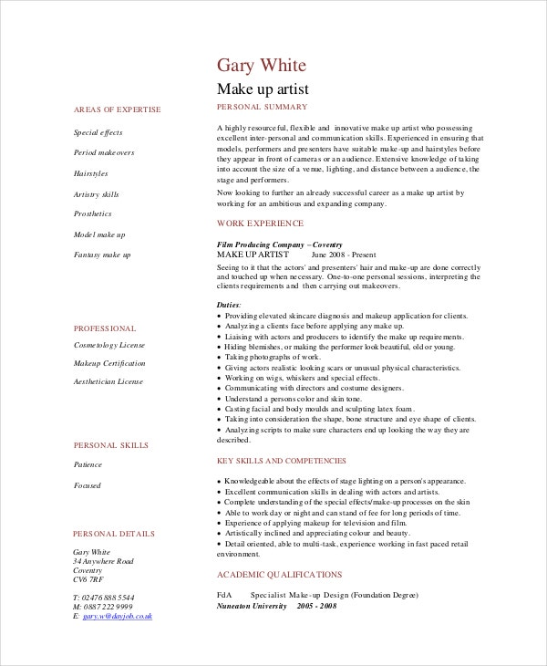 Makeup Artist Resume - 5+ Free Pdf, Word Documents Download | Free