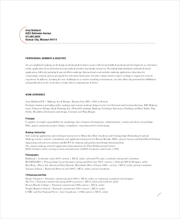 Printable Makeup Artist Resume