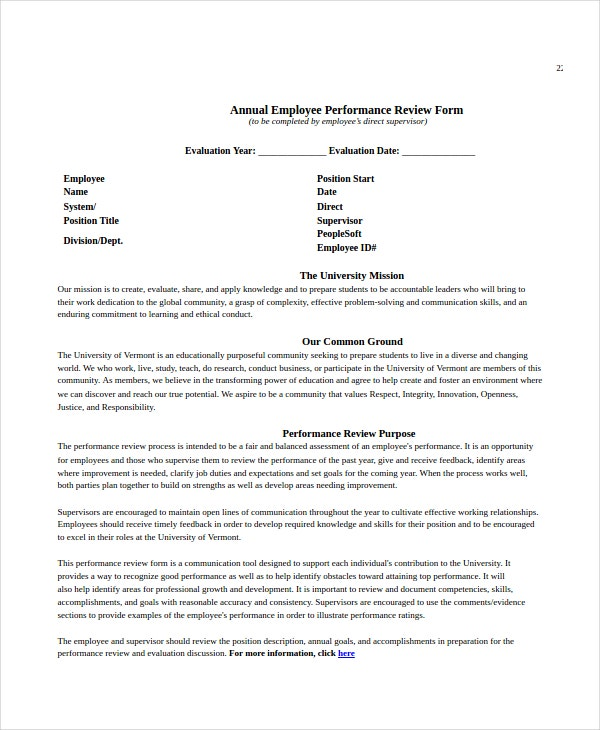yearly employee review template employee review templates 10 free pdf documents