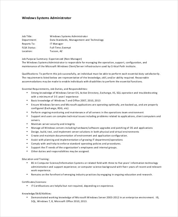 Windows System Administrator Job Description