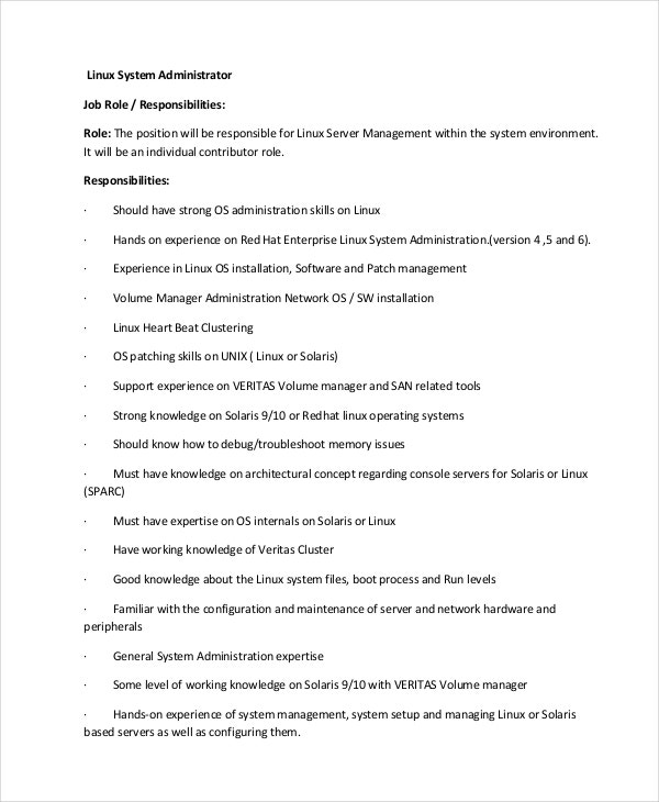 Linux System Administrator Job Description