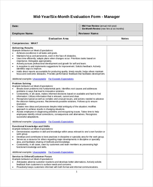Employee Review Templates 10 Free PDF Documents Download – Employee Review Forms
