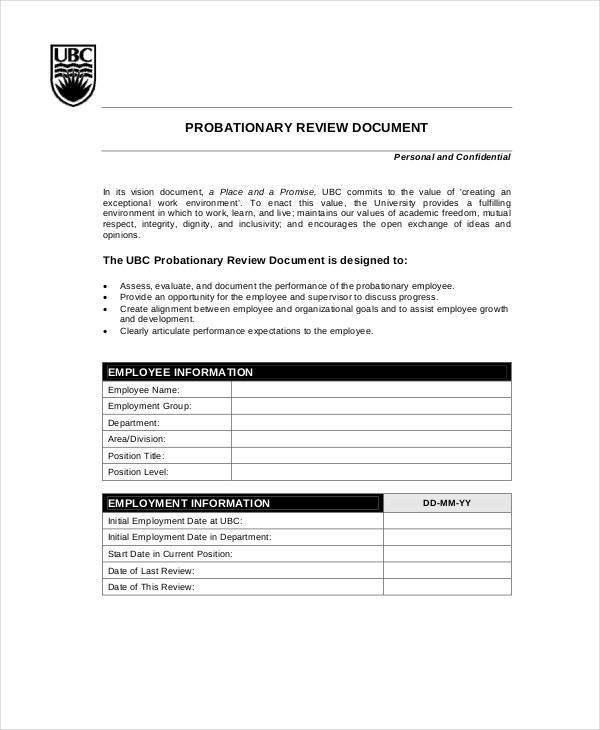 Employee Probation Review Template  Employee Review Form Free Download